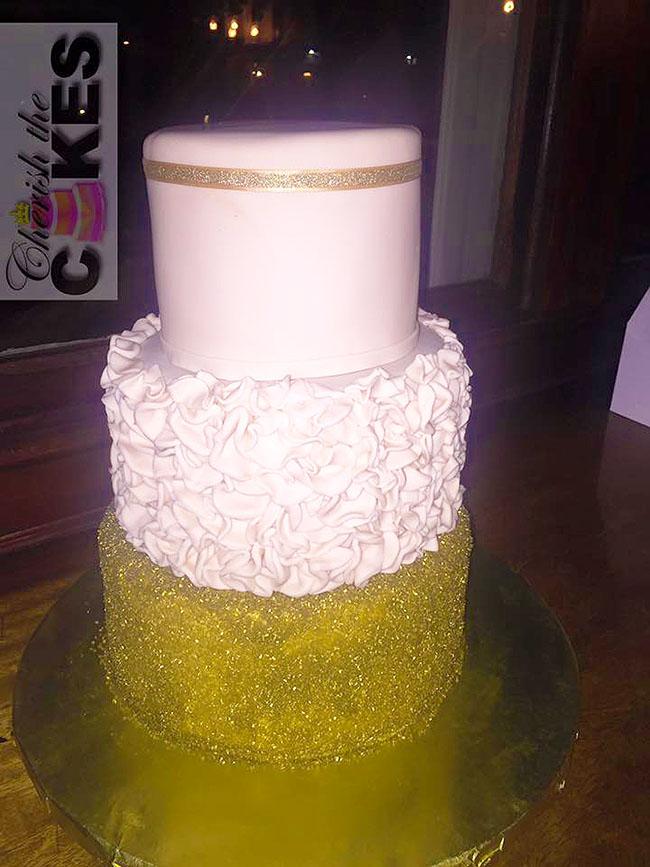 Gold Bling Wedding Cake 3 Tier Cherish The Cakes