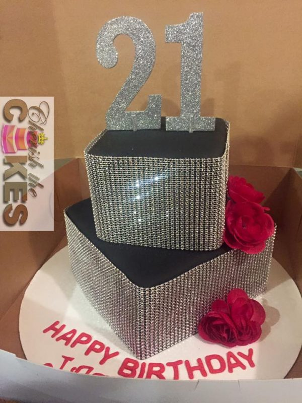 Bling Two Tier Birthday Cake